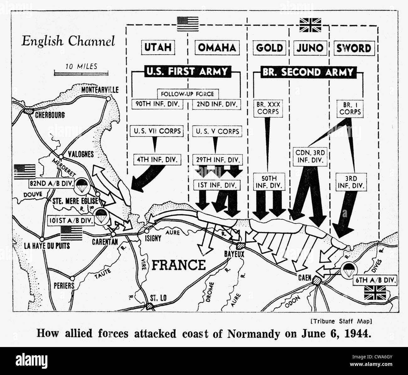 D-Day, Map detailing Allies invasion of Normandy, France, 1944. Courtesy: CSU Archives / Everett Collection - Stock Image