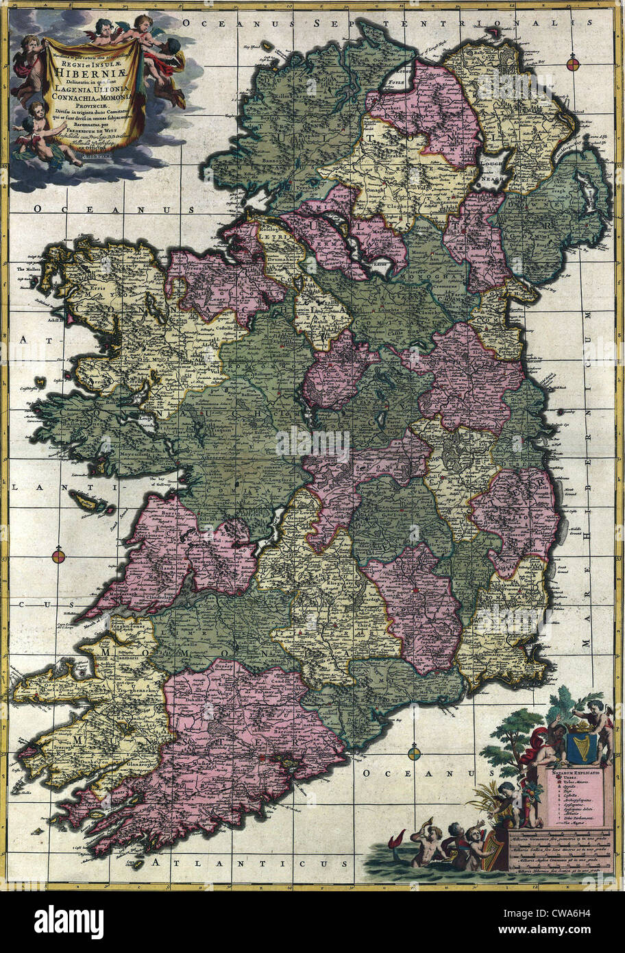Map of Ireland from 18th century, showing counties, when all of Ireland was under British rule. - Stock Image