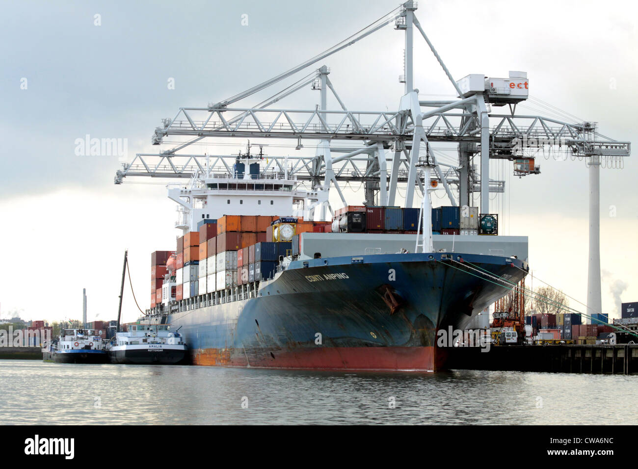 Containership in port of Rotterdam Stock Photo