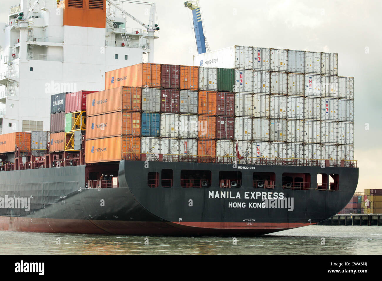 Manila Express, Hong-Kong registered containership in port of Rotterdam Stock Photo