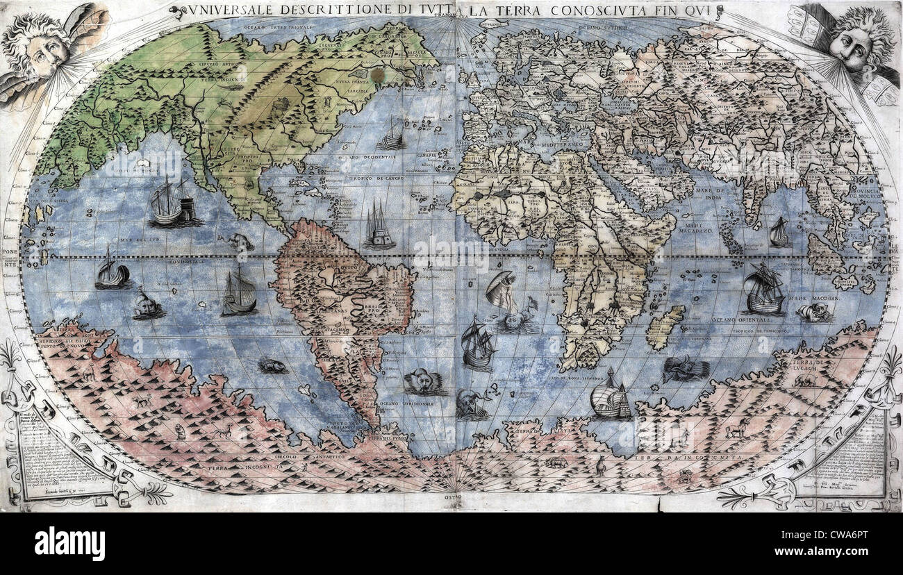 1565 World Map by Paulo Forlani, based on the work of Giacomo Gastaldi. Map  lake accuracy by joining North America to Asia, and