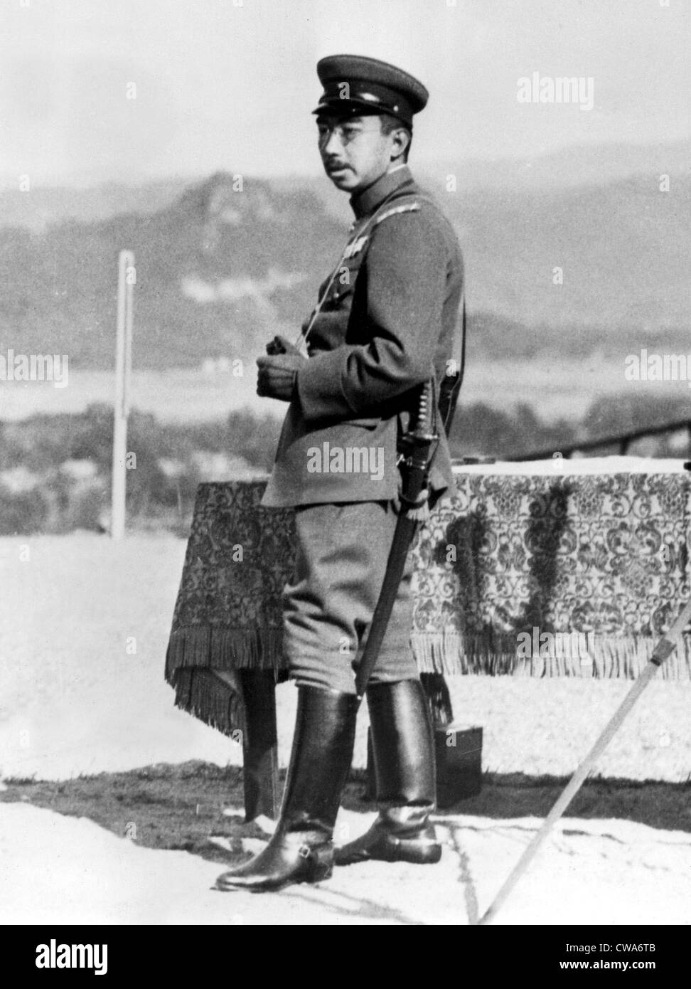 JAPANESE EMPEROR AT WAR MANEUVERS  His Imperial Majesty Emperor Hirohito of Japan was an ineterested spectator during - Stock Image