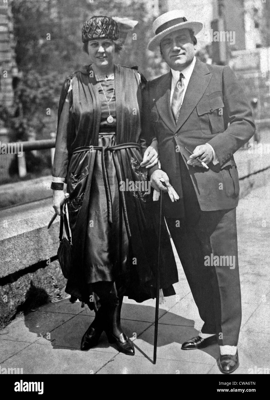 Enrico Caruso and his wife, Dorothy Park Benjamin, take a walk on Fifth Avenue in New York, 1918. Courtesy: CSU - Stock Image