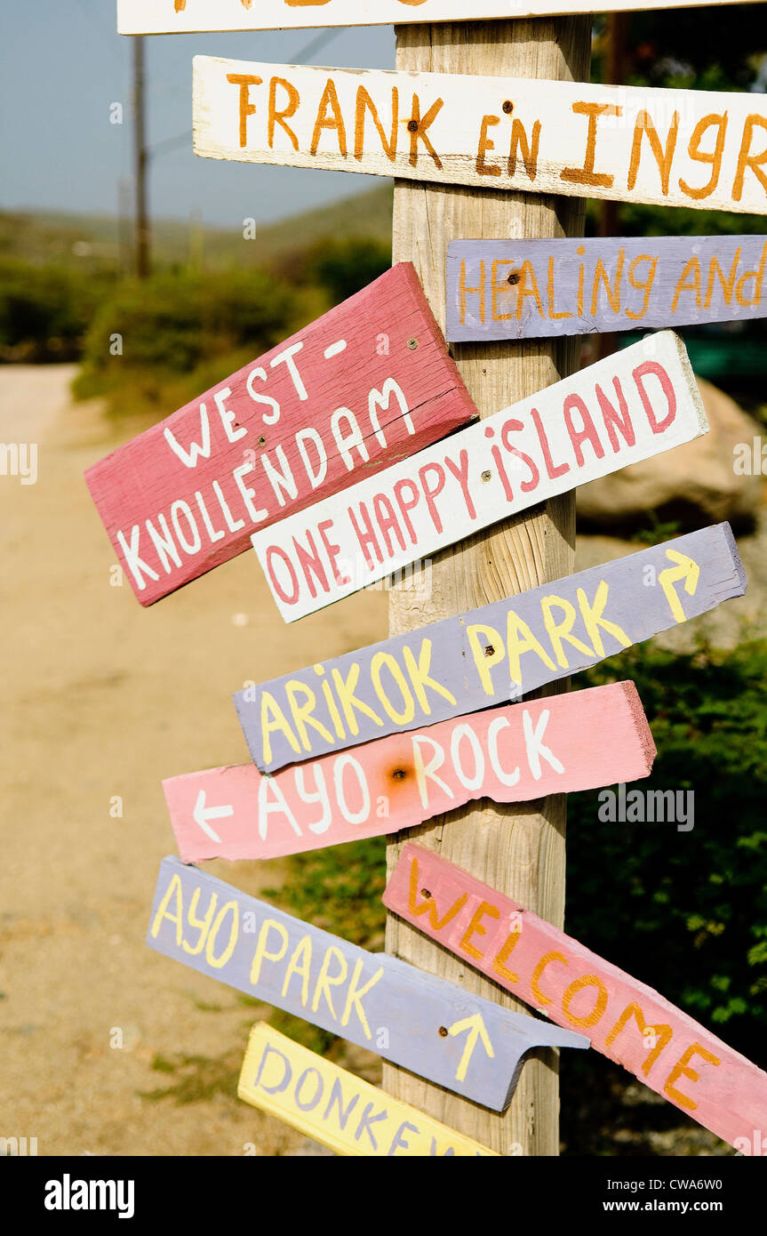 Wooden sign post, aruba - Stock Image