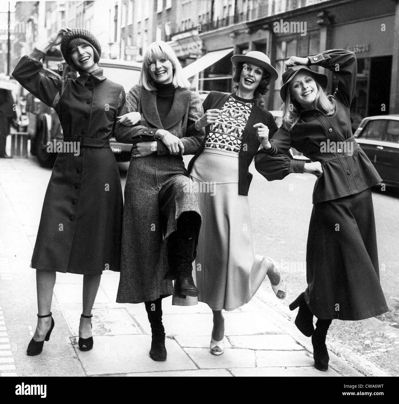 Models showing some of the styles in Mary Quant's new Ginger Group collection in London, 1974.. Courtesy: CSU - Stock Image