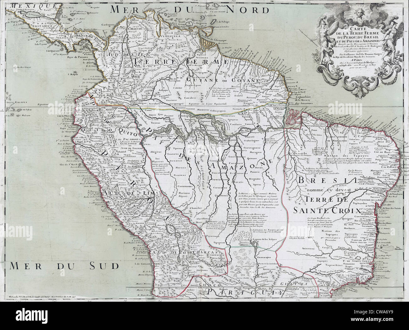 1745 map of northern South American continent