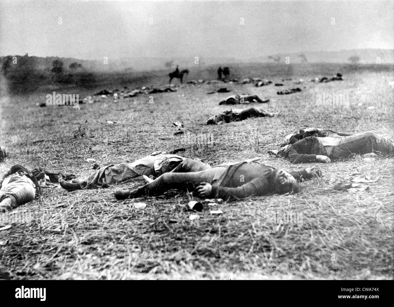 GETTYSBURG-Scene near the Rose Farm or Devil's Den on the Gettysburg battlefield, of dead Union Soldiers.  Photograph - Stock Image
