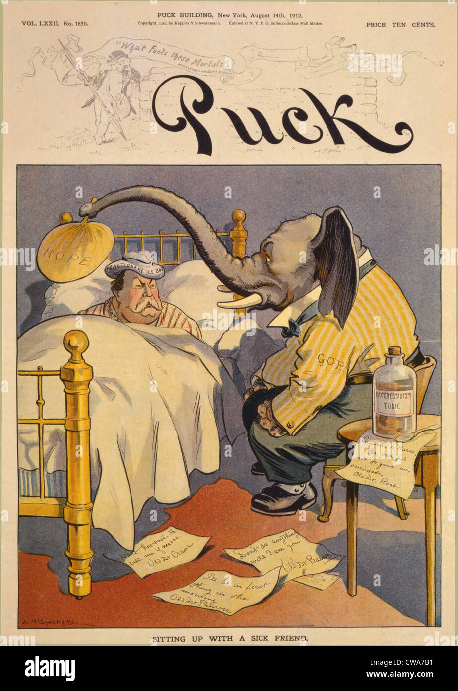 "1912 Cartoon ""Sitting up with a sick friend,"" commenting on the Republican Party split, in which ""progressive"" Theodore Stock Photo"