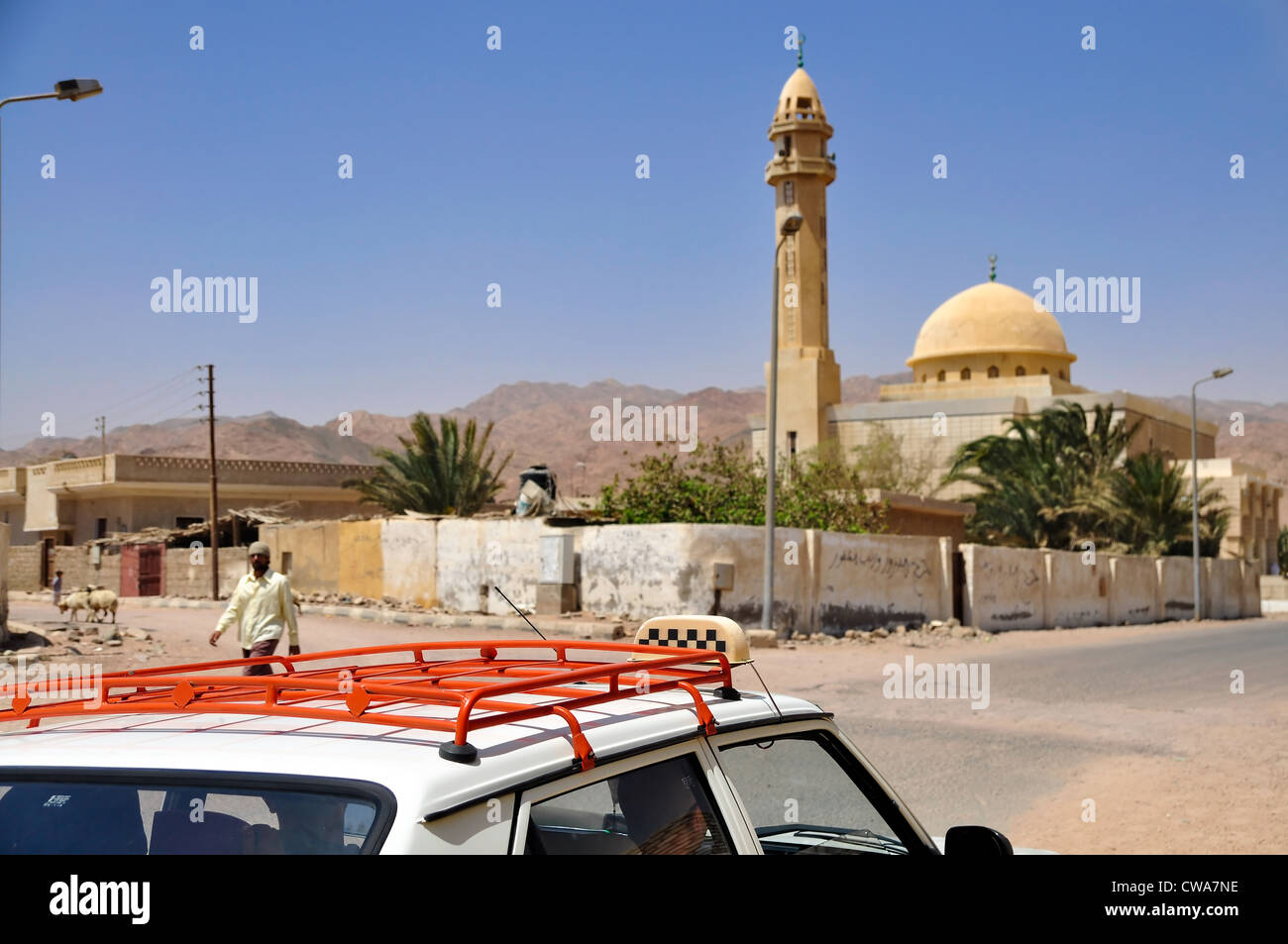 taxi cab in streets of Egyptian Dahab - Stock Image