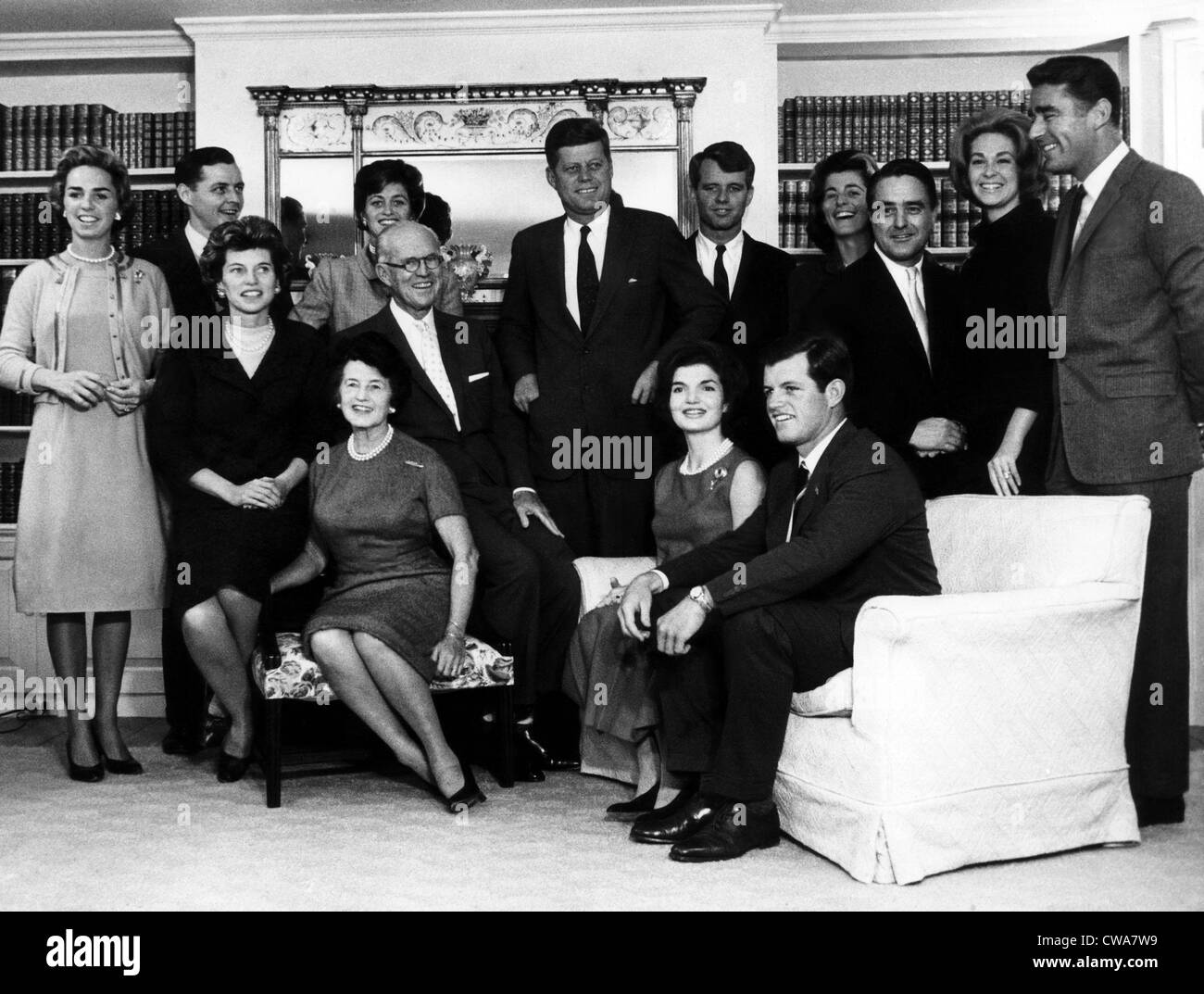 President-Elect John F. Kennedy (center, standing) with members of his family, Massachusetts, November 13, 1964.. - Stock Image