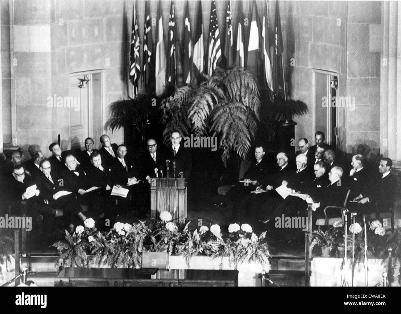 N.A.T.O.-4/4/49 WASHINGTON--  Secretary of State Dean Acheson makes welcoming address at North Atlantic treaty Signing - Stock Image