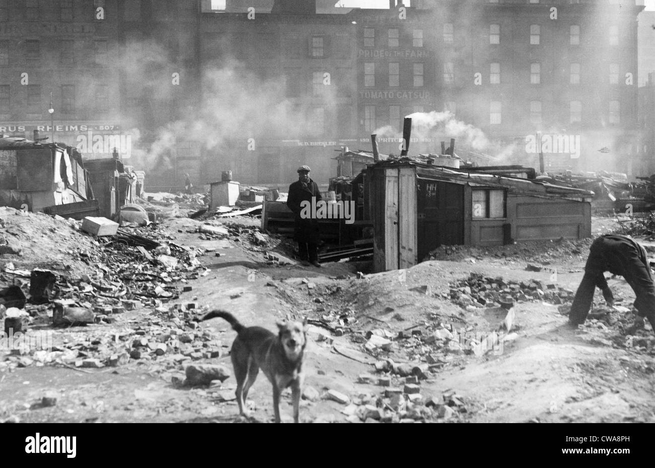 Shack colony at West and Charleton Streets, New York City, February 16, 1932.  Courtesy: CSU Archives/Everett Collection - Stock Image