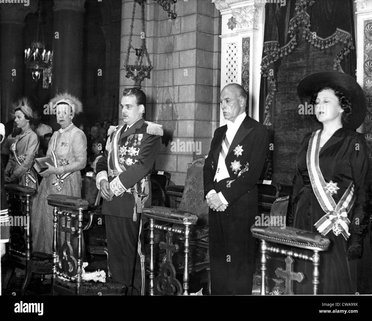Prince Rainier III (center) at his enthronement flanked by (From left) Princess Antoinette of Monaco, Princess Charlotte - Stock Image