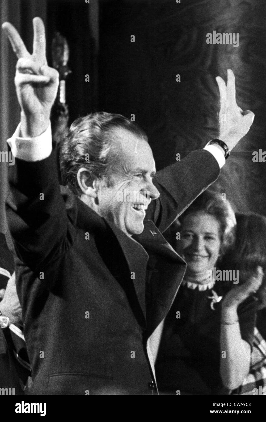 RICHARD NIXON-President Nixon responds to a cheering young Republican crowd at their leadership conference in a - Stock Image