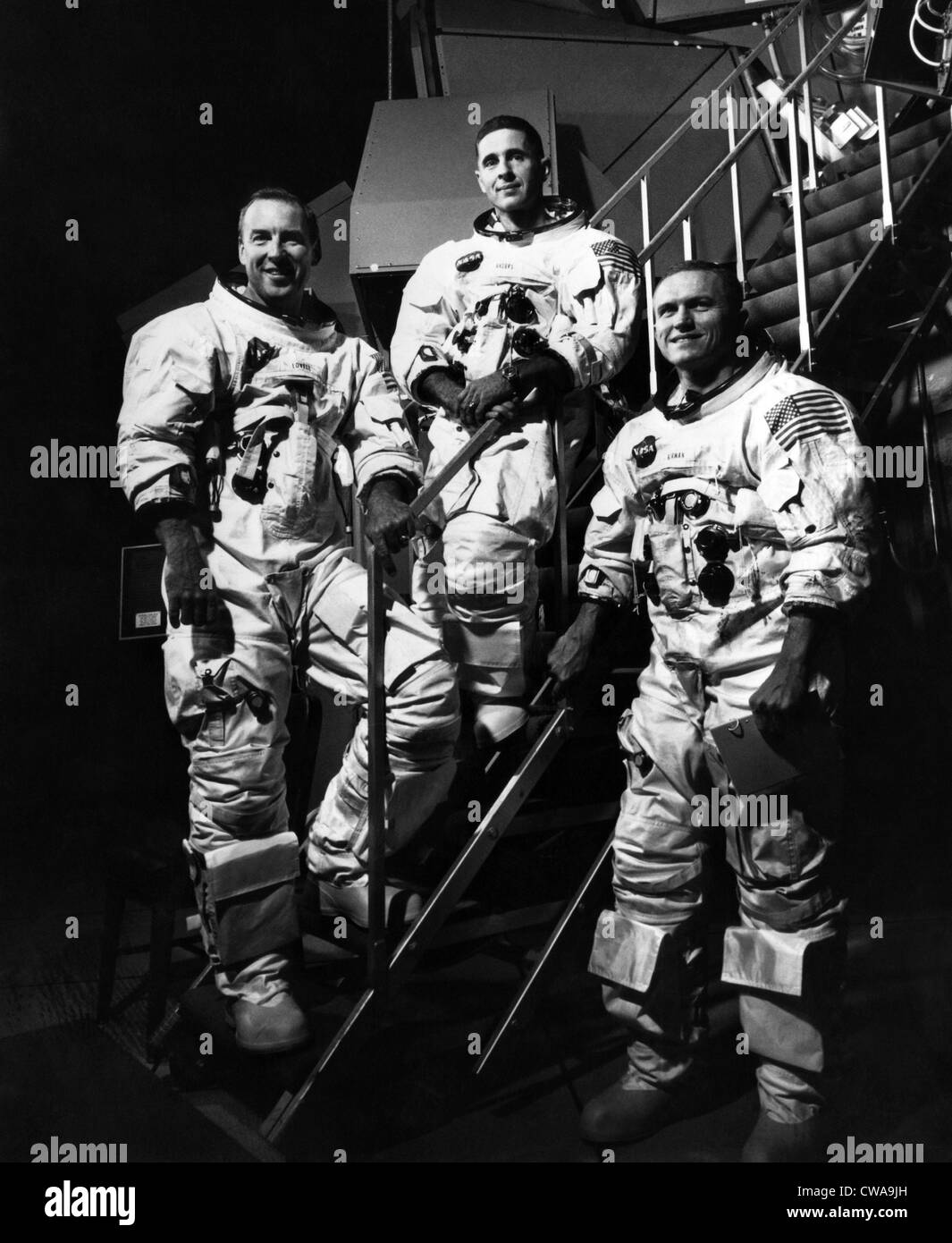 The crew for the Apollo 8 spacecraft L-R: James A. Lovell Jr., William A. Anders, Frank Borman, 1968.. Courtesy: - Stock Image