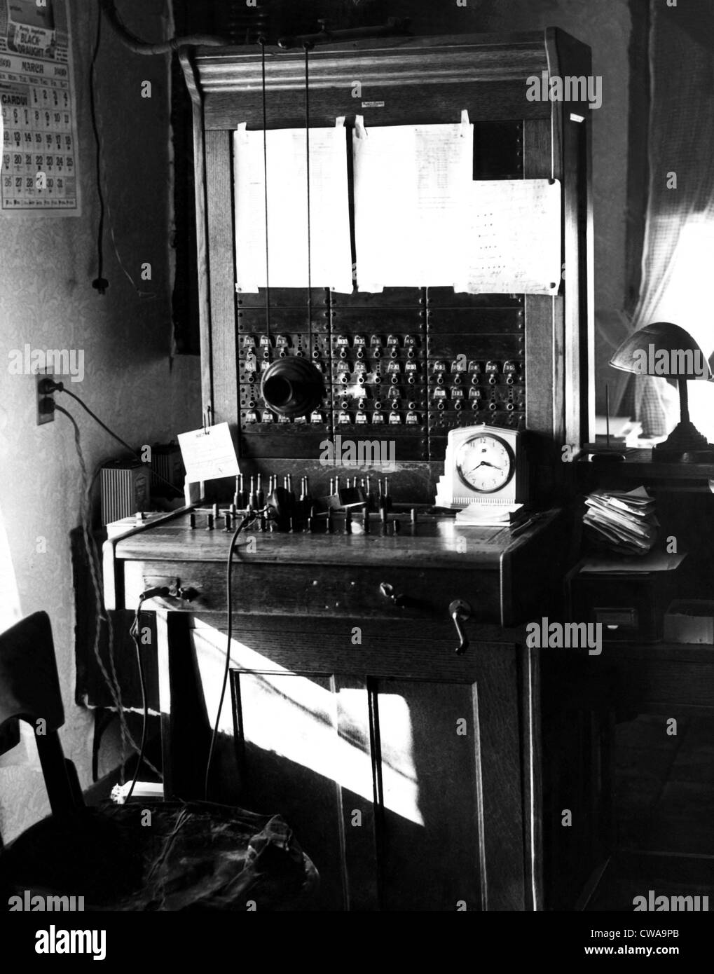 A magnetic switchboard, circa 1930s. Courtesy: CSU Archives/Everett Collection - Stock Image