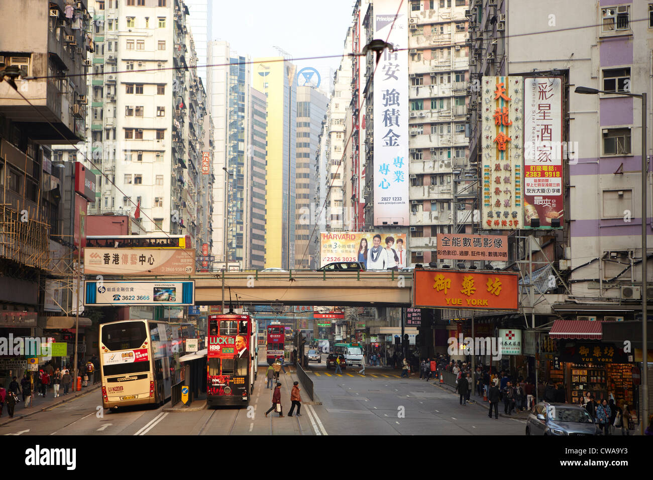 Busy street scene, hong kong, china - Stock Image