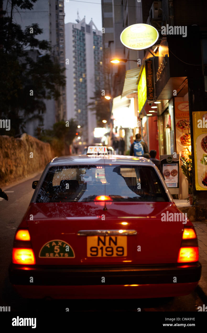 Taxi in wan chi district, hong kong, china - Stock Image