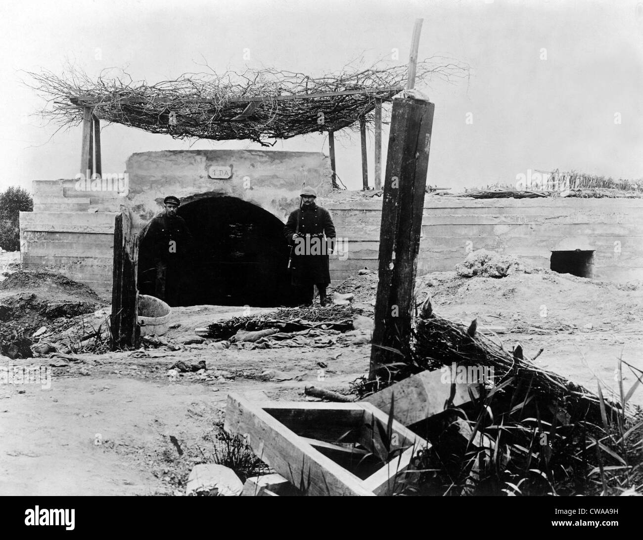World War I: A concrete dugout for artillery at the Belgian front, 1918.. Courtesy: CSU Archives / Everett Collection - Stock Image