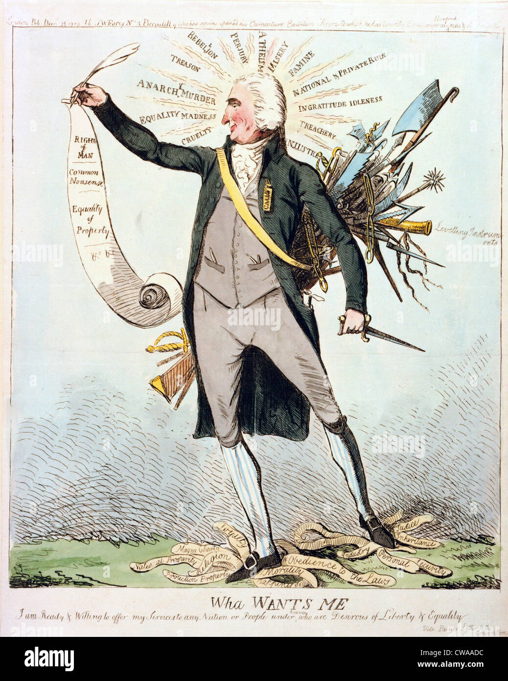 Thomas Paine's (1737-1809) support of the French Revolution is satirized in a 1792 British cartoon.  Paine is - Stock Image