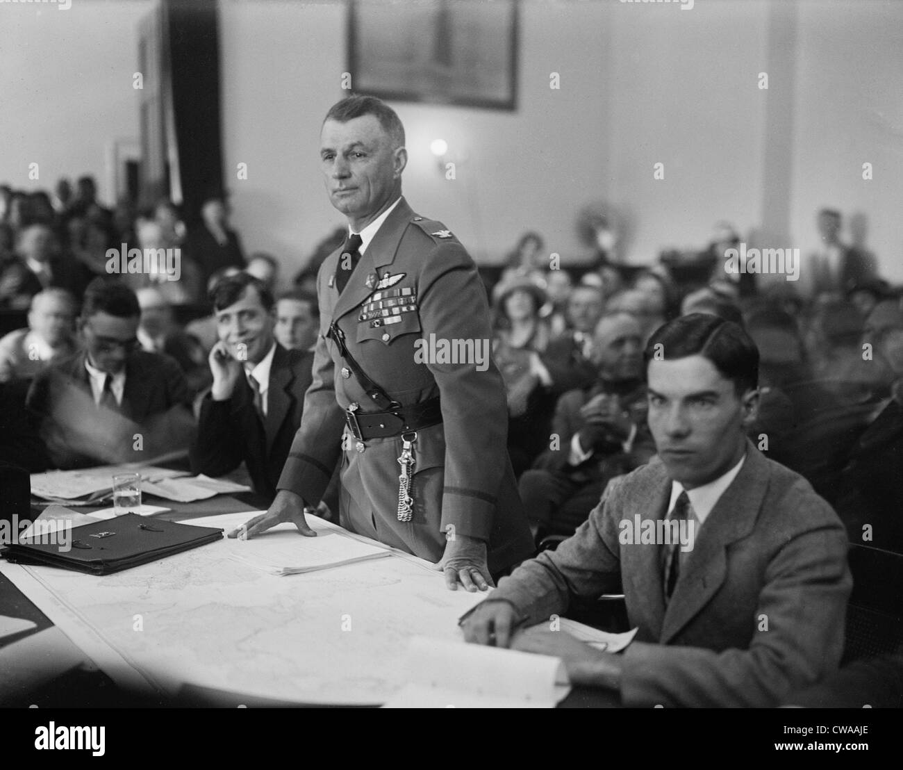 Colonel Billy Mitchell during his September 1925 was court marshal for 'insubordination,' specifically for - Stock Image