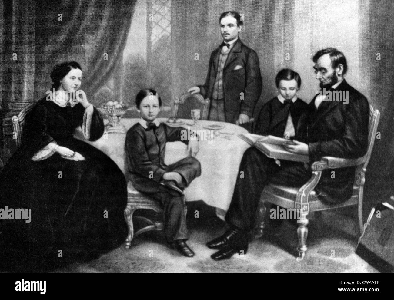 illustration depicting abraham lincoln reading to his family c stock photo 50015183 alamy. Black Bedroom Furniture Sets. Home Design Ideas