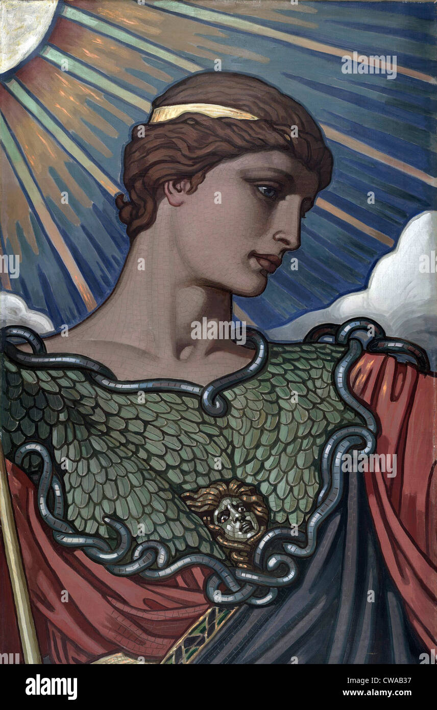 Minerva, goddess of war and Roman counterpart of Athena.  1896 painting by American mural painter Elihu Vedder. - Stock Image