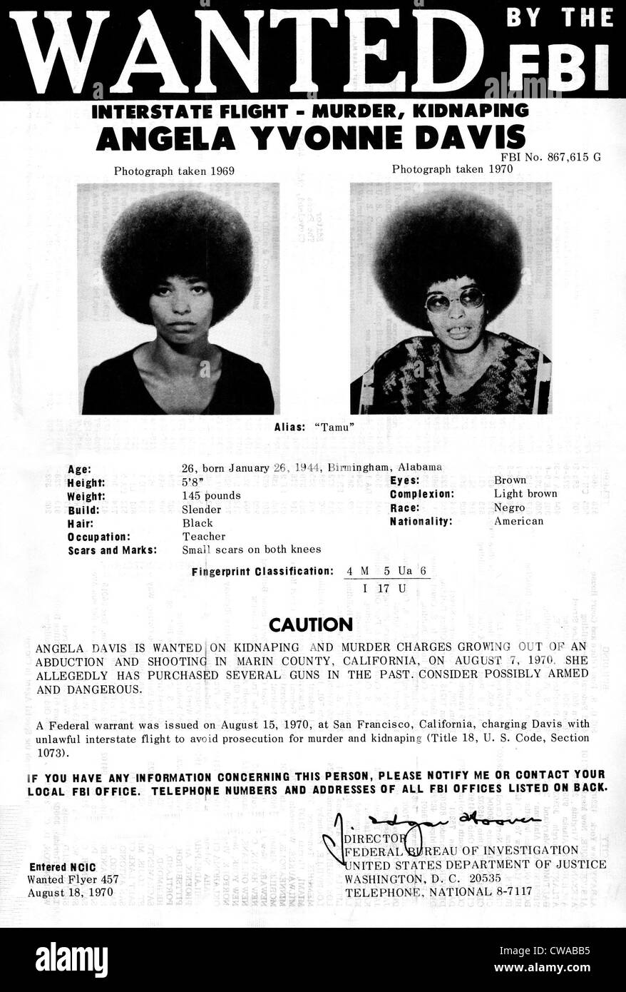 Angela Davis FBI Wanted Ad, August 8th 1970. Courtesy: CSU Archives / Everett Collection - Stock Image