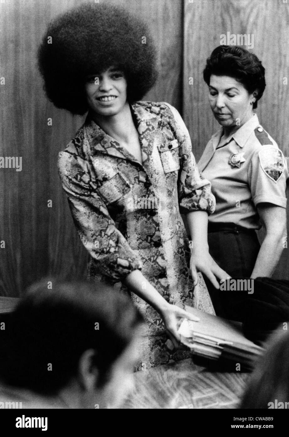 Angela Davis in courtroom. She was charged with conspiracy, kidnap and murder, but eventually acquitted, 1971. Courtesy: - Stock Image