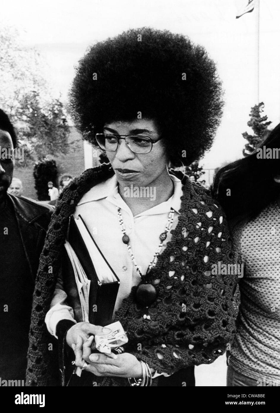 Angela Davis leaves the courthouse after the first day of her trial. She was charged with kidnapping, conspiracy - Stock Image