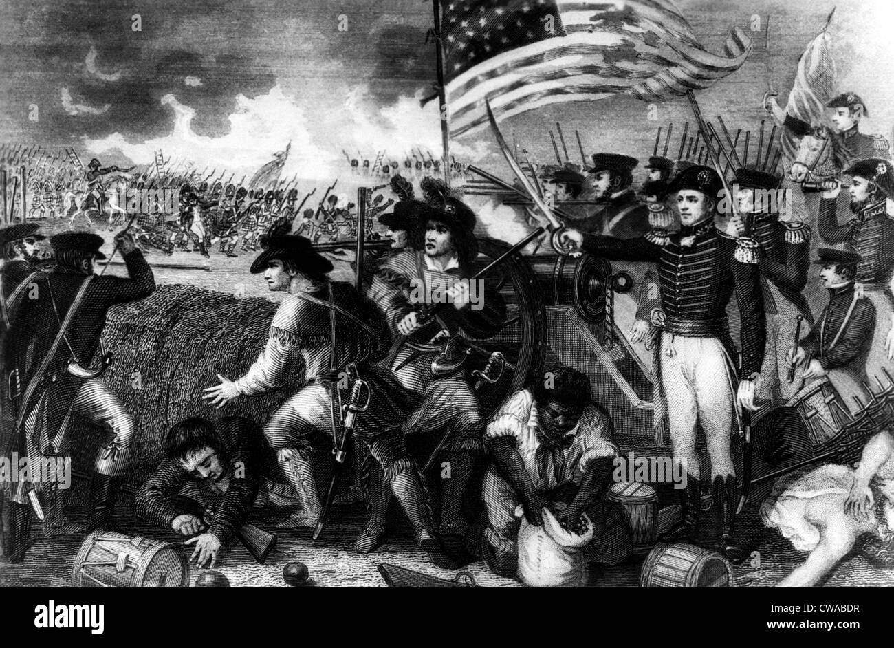 The Battle of New Orleans with Andrew Jackson at the barricade. ca. 1810s. Courtesy: CSU Archives/Everett Collection. - Stock Image