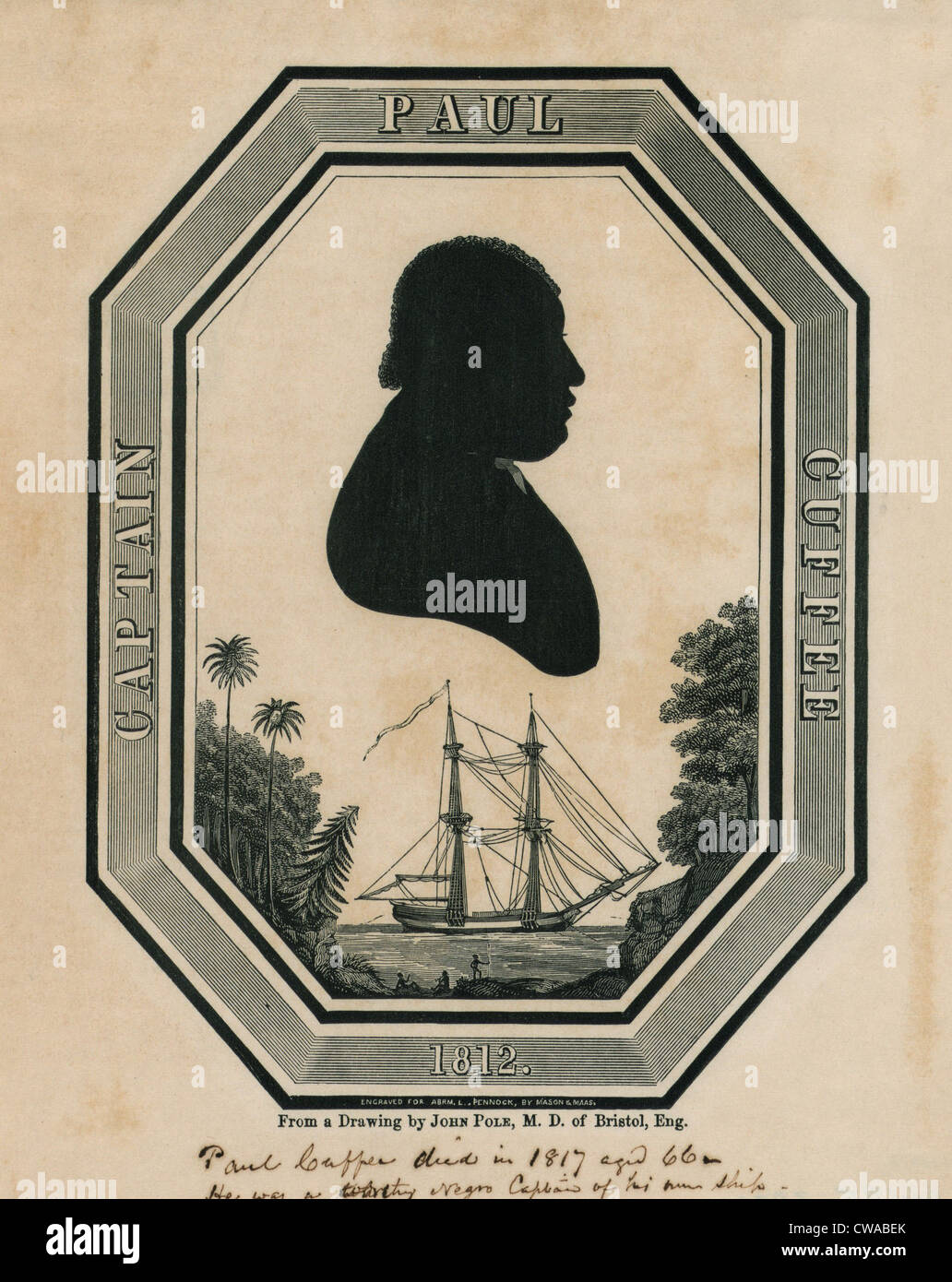 Paul Cuffe (1759-1817), silhouette portrait of the free black, prosperous sea captain. Cuffe aided other free African - Stock Image
