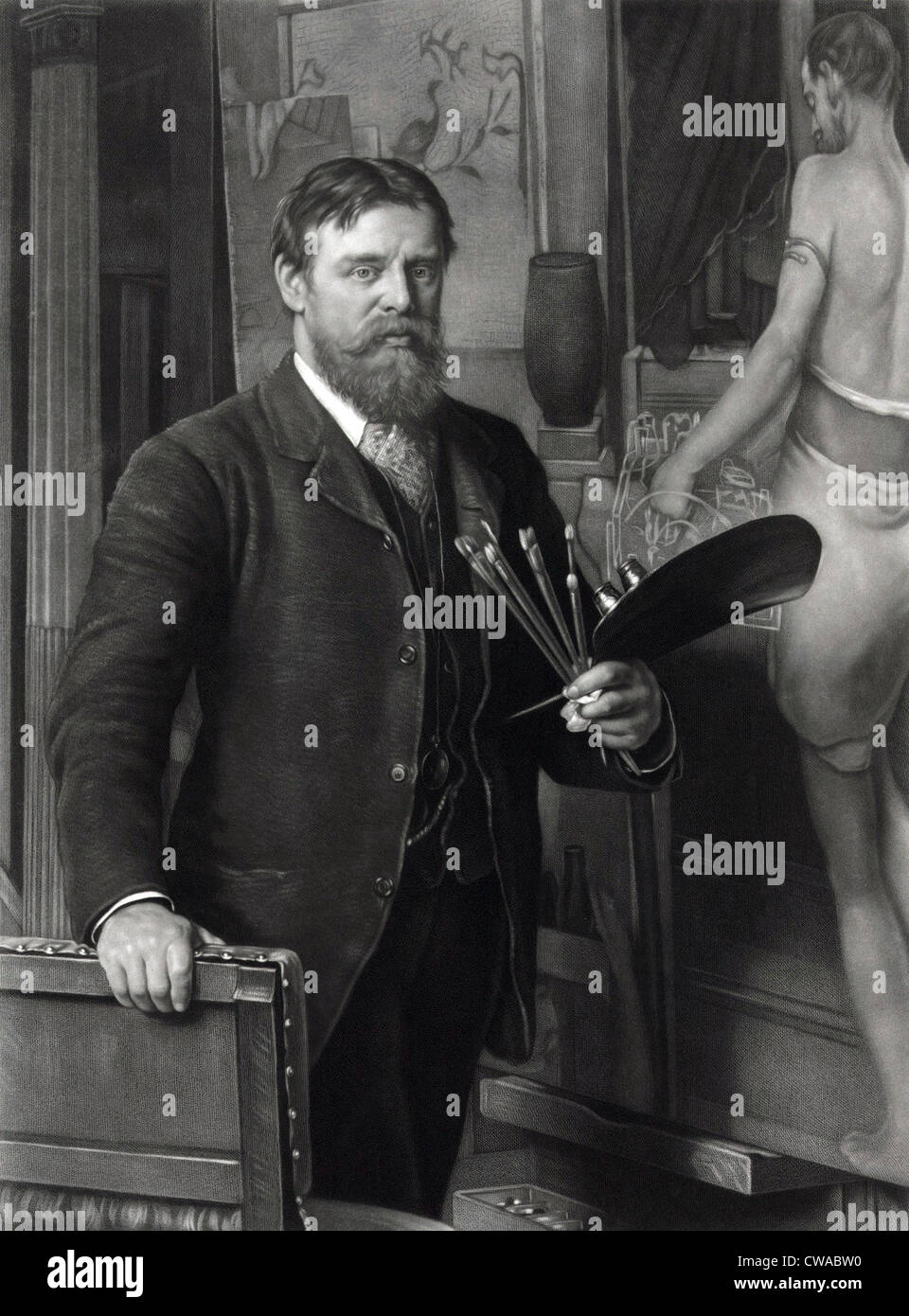 Sir Lawrence Alma-Tadema (1836-1912), in his studio.  He painted realistic scenes of ancient history, with exceptional - Stock Image