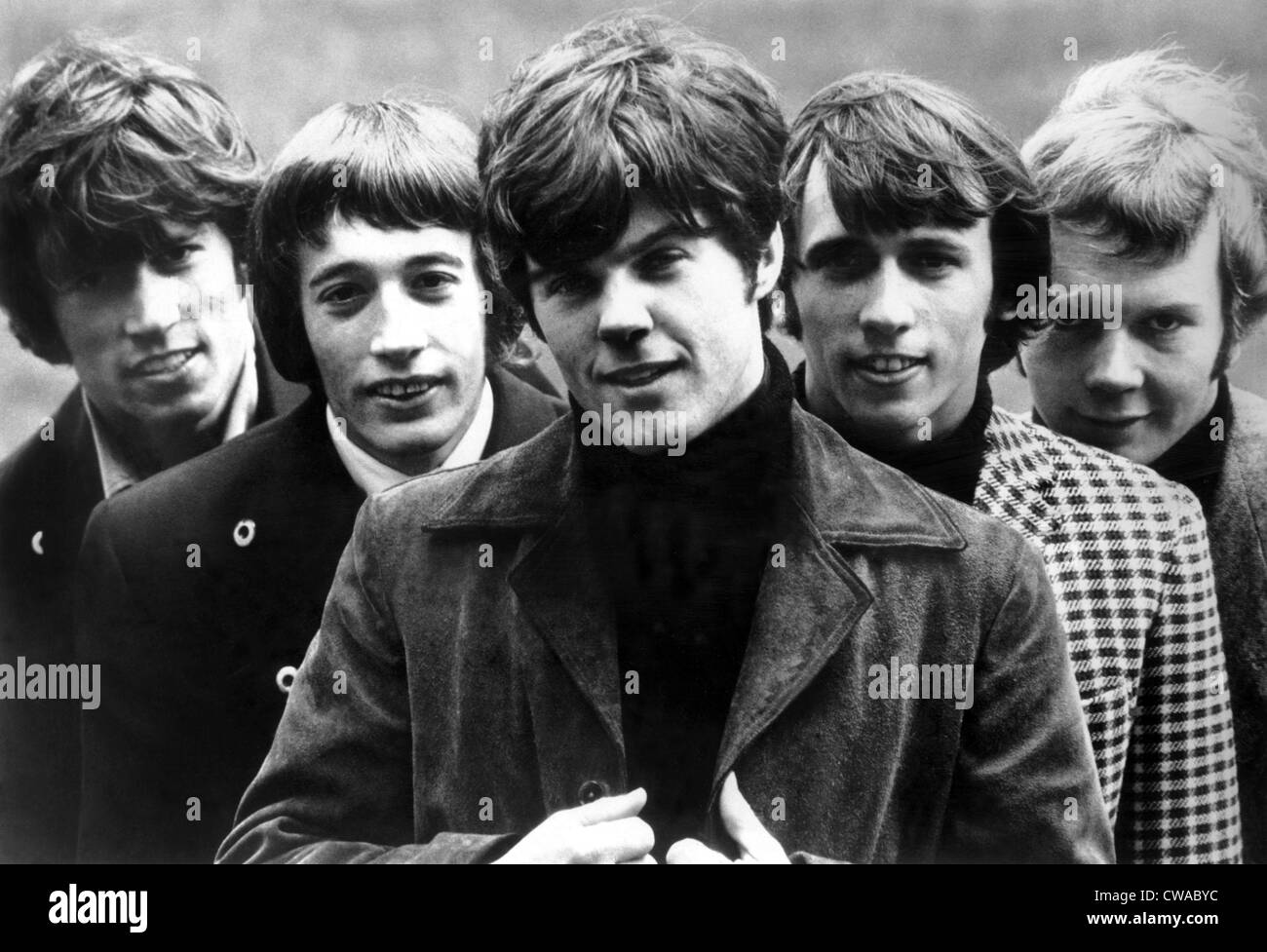 Bee Gees, (l to r): Barry Gibb, Robin Gibb, Vince Melouney, Maurice Gibb, Colin Petersen, ca. late 1960s/early 1970s. - Stock Image