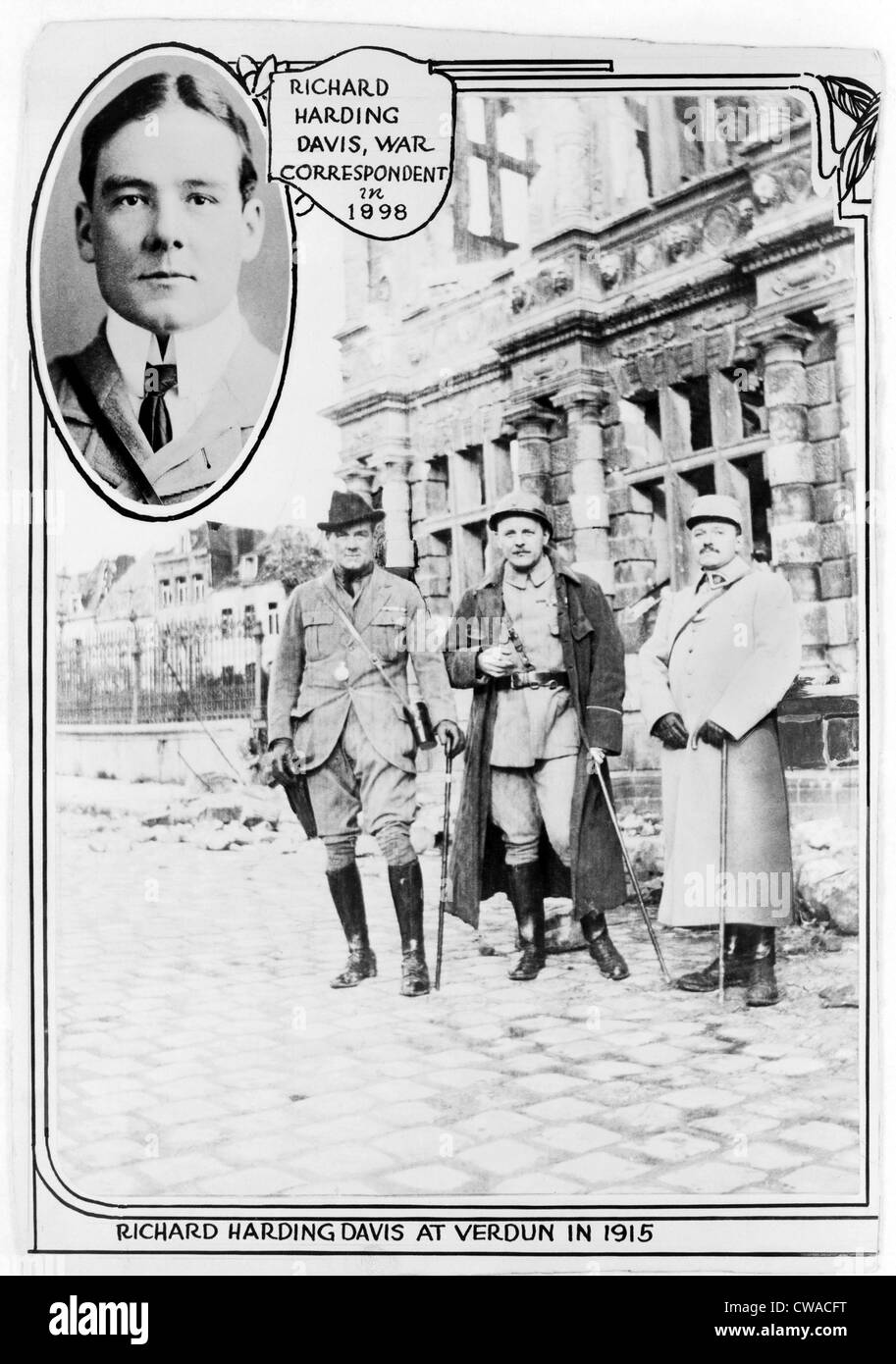 Richard Harding Davis (1864-1916), American journalist at Verdun, with two other men, in 1915, and insert of head - Stock Image