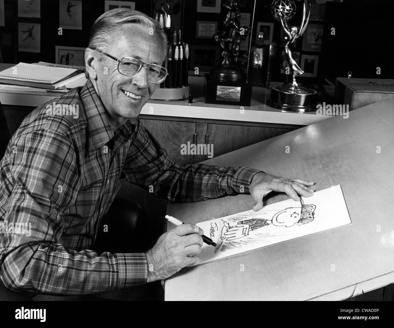 Charles M. Schulz, (1922-2000), American cartoonist and creator of the comic strip 'Peanuts', circa 1970s. Courtesy: Stock Photo