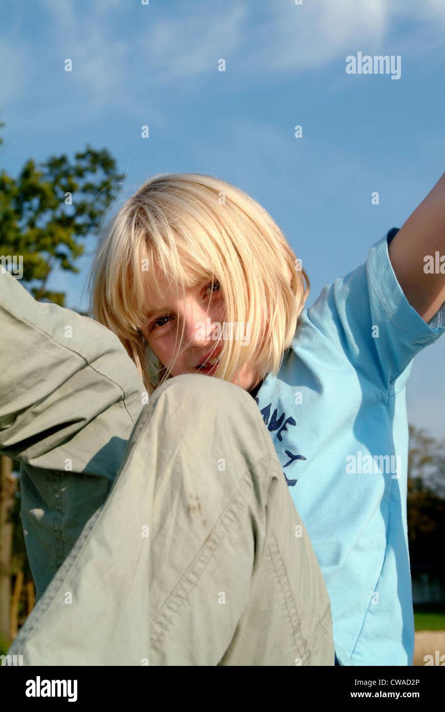 Lehnin girl when Rumtoben on Kuerbisfest Lehnin Stock Photo