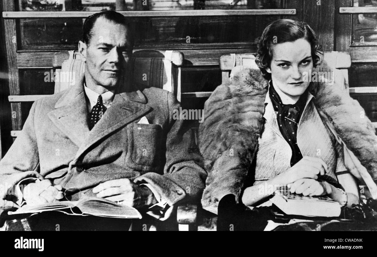 Newlyweds James H R  Cromwell and Doris Duke on their honeymoon in
