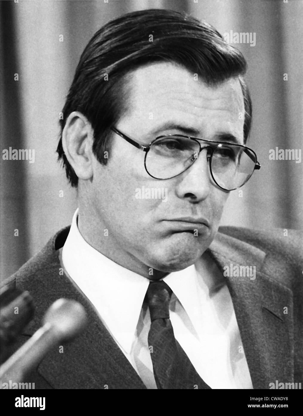 DONALD RUMSFELD, during press conference about the U.S. selling arms to Egypt, 1976. Courtesy: CSU Archives/Everett - Stock Image