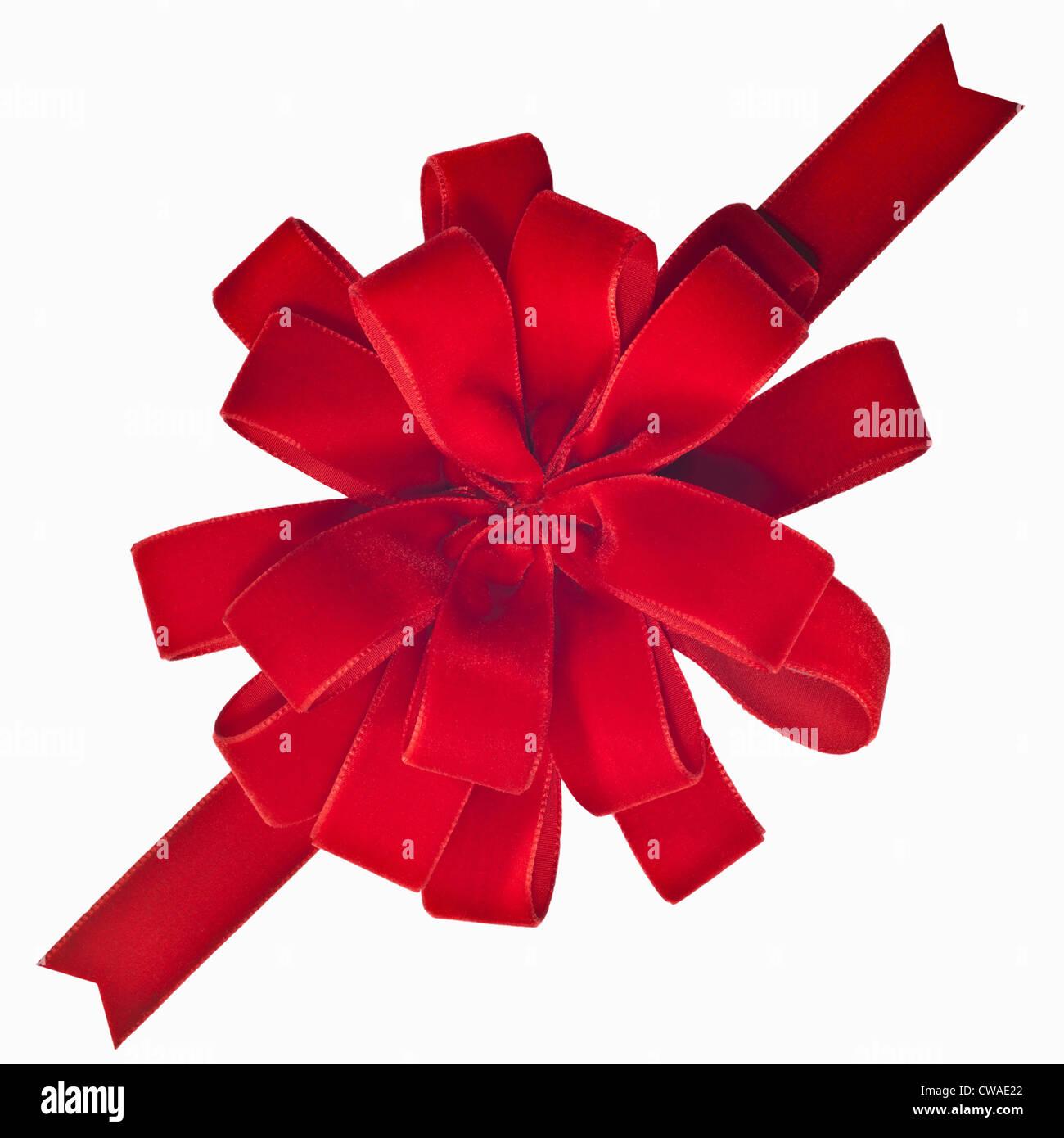 Red velveteen bow - Stock Image