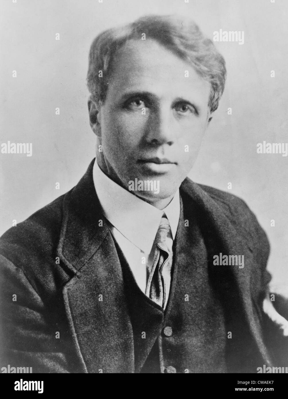 Robert Frost (1874-1963), American poet, ca. 1915. In 1913 Frost published his first book of poems, A BOYS WILL, Stock Photo