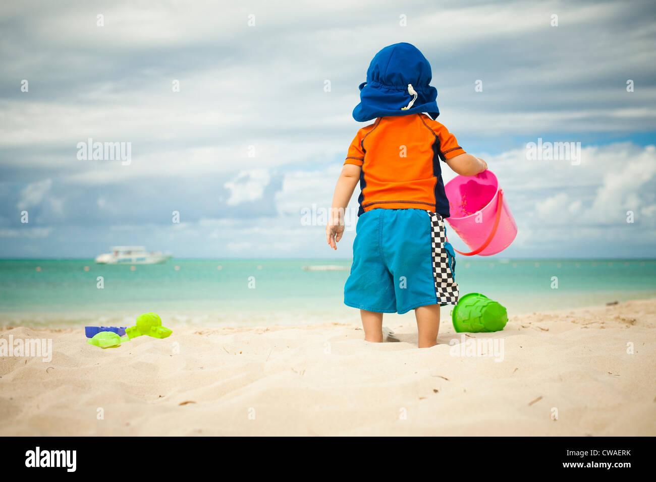 Little boy at the beach - Stock Image