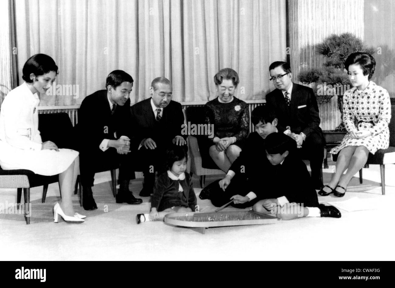 Crown Princess Michiko, Crown Price Akihito, Emperor Hirohito, Empress Nagako, Prince Hitachi and Princess Hitachi - Stock Image