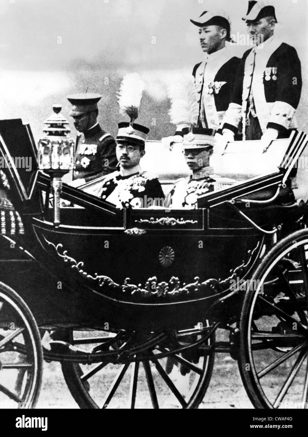 The imperial carriage bearing Emperor Hirohito and Emperor PU-Yi of Manchoukou. April 9, 1935. Courtesy: CSU Archives/Everett - Stock Image