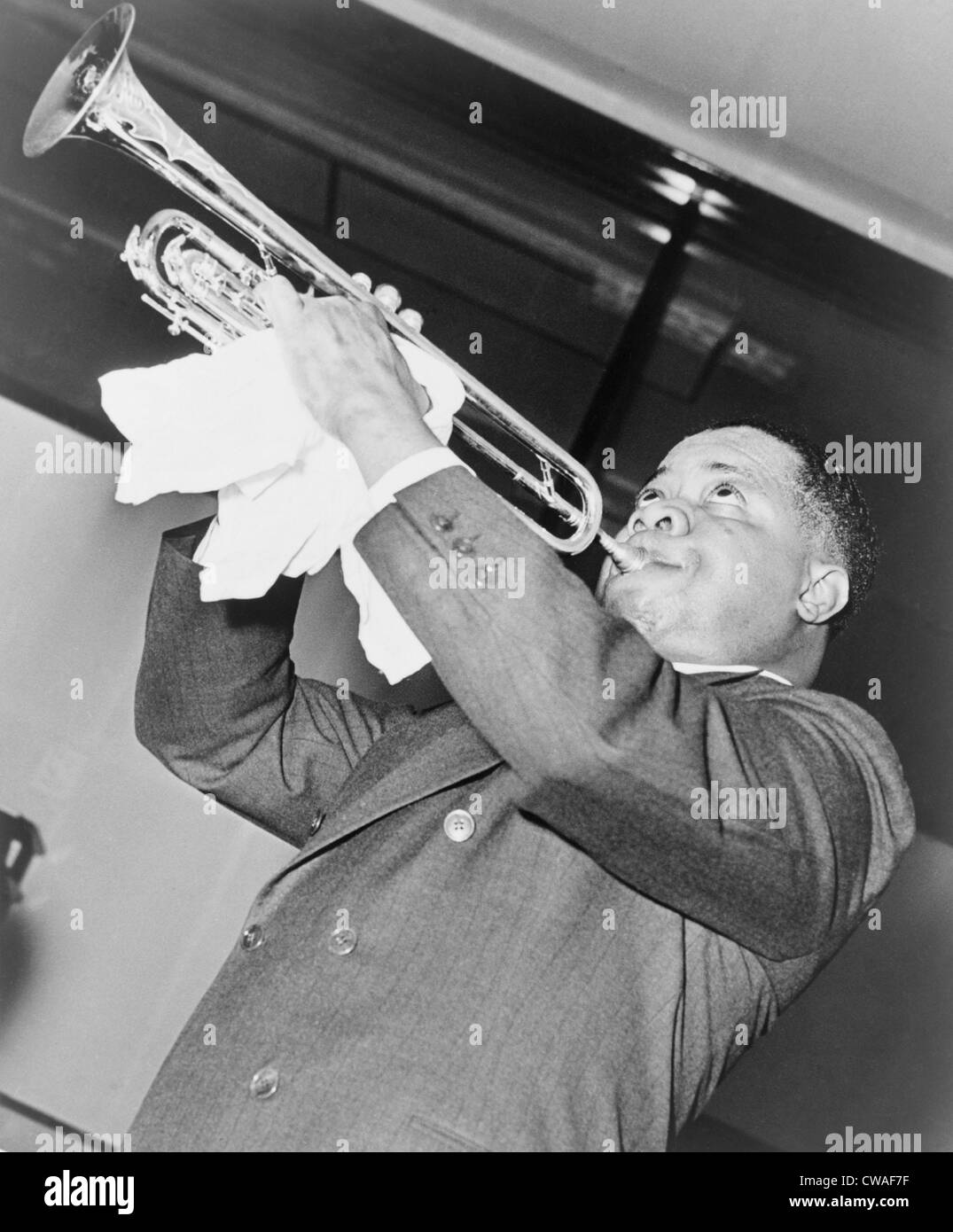 Louis Armstrong (1901-1971), African American Jazz musician, performing in 1937. Stock Photo