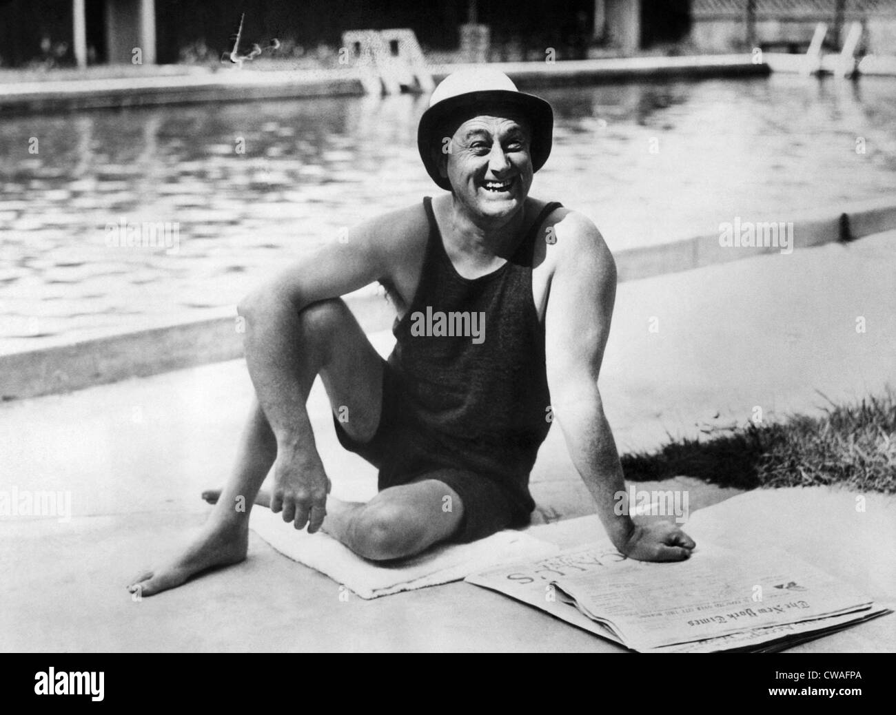 Governor (and future U.S. President), Franklin D. Roosevelt (1882-1945), poolside at his home in Warm Springs, Georgia, - Stock Image