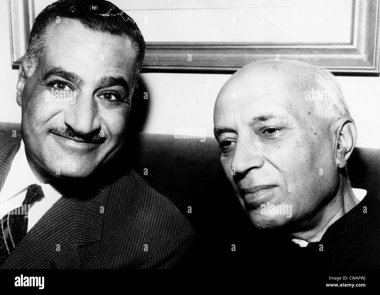 President of the United Arab Republic Gamal Abdel Nasser and Prime Minister of India Jawaharlal Nehru, at a meeting - Stock Image