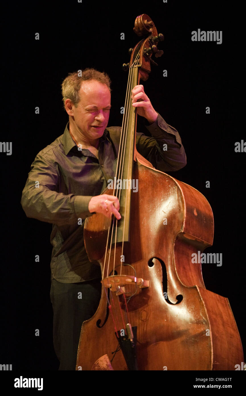 Double bass player Alec Dankworth performing at Brecon Jazz Festival 2012 - Stock Image