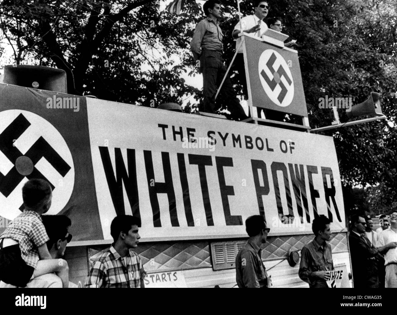 George Lincoln Rockwell, leader of the American Nazi Party at an appearance in Chicago Illinois, August 21, 1966. - Stock Image