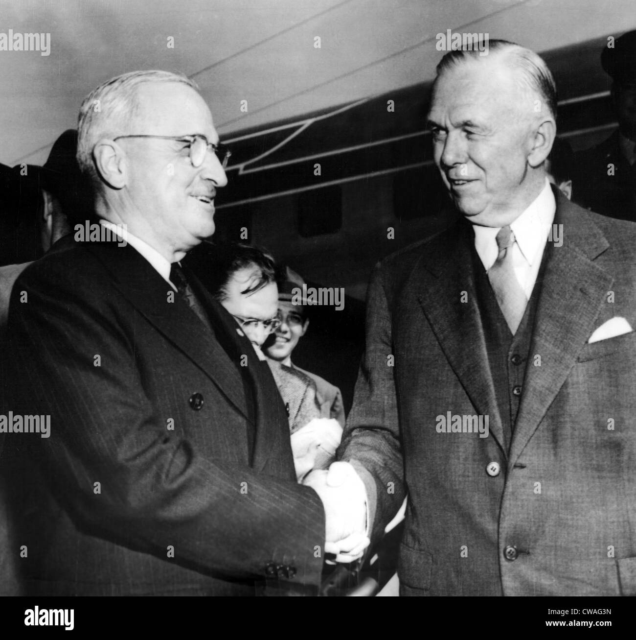 President Truman greets Secretary of State George C. Marshall at National Airport, 10/9/48. Courtesy: CSU Archives - Stock Image